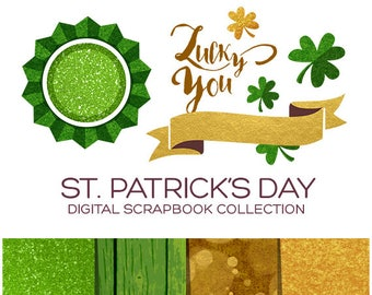 St Patrick's Day Clipart Pack Irish Clipart Clover Clipart Leprechaun Clipart Green Clipart Gold Clipart Horseshoe Clipart Holiday - CP00002