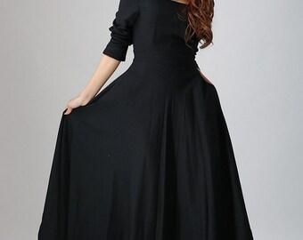 black dress linen, maxi dress, long sleeves dress, prom skirt, party dress, little black dress, custom dress, plus size dress, gift (793)