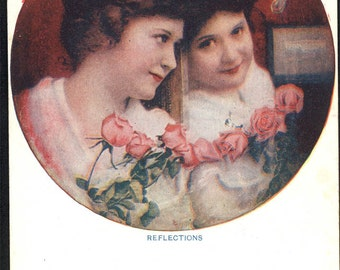 Vintage Valentine Reflections Woman in Mirror with Roses Art Deco Card postcard