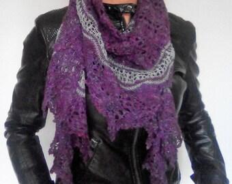 luxury lace knit shawl, beaded
