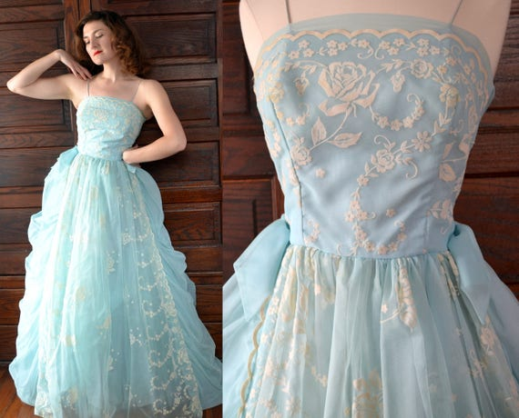Cotton Candy Dress | vintage 60's light blue rose ball gown prom | tulle velvet