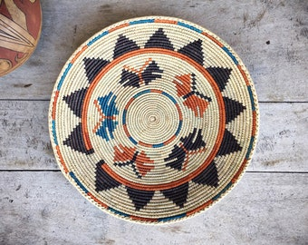 Shallow Woven Basket in Earth Colors Butterfly Decor Bohemian Jungalow Style, Southwestern Decor