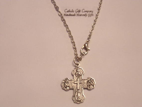 Five Way Cross Pendant | 18 or 24 in stainless steel chain - w/ Miraculous Medal, Sacred Heart of Jesus, St Christoper, St Joseph and Dove