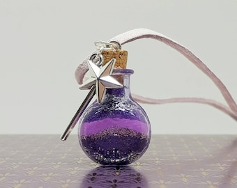 Sand art glow in the dark wish bottle necklace with magic wand charm