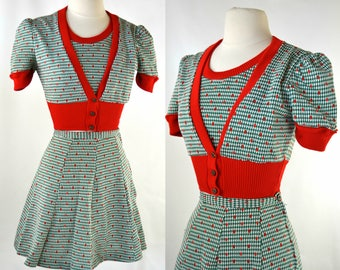 1970s Two Piece Red and Green Crop Top and Mini Skirt Set, Size Small