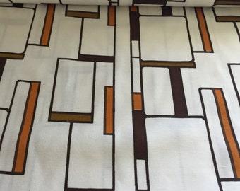 60s Amazing Mondrian Style Geo//MCM Block Print//Cotton/Rayon Shantung//Orange/Mustard/Chocolate on Off White Ground//Dead Stock