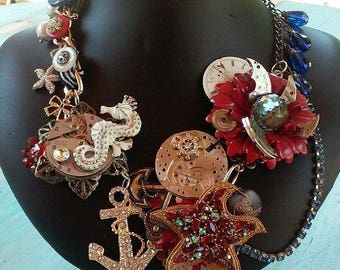 Under the sea steampunk chunky bib necklace