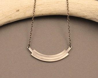 Stevie sterling silver arc necklace- short