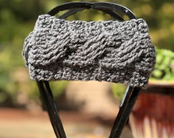 The Maddie- Crochet cabled headband in gray