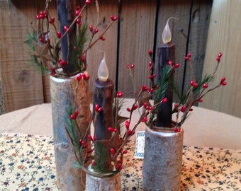 Rustic Twig Candle Holder. Set of 3