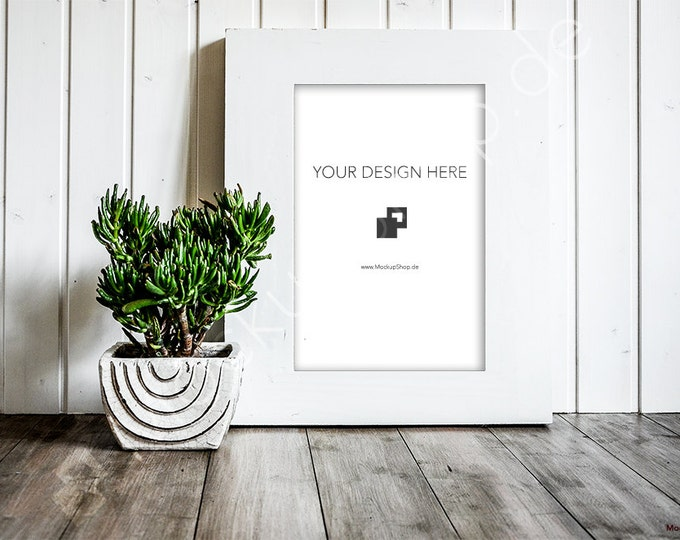 FRAME MOCKUP WHITE Frame / Empty Frame Mockup / Artprint Mockup / wooden background / Mockup Frame - 40% Discount in April