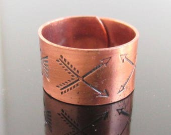 Wide Southwestern Solid Copper Band Ring - Crossed Arrows & Other Stamped Designs, Adjustable Size