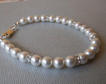 Pearl Wedding Bracelet Ivory/Cream Pink White Bridal Bracelet with Swarovski crystals and pearls Bride Bridesmaid Wedding Jewelry