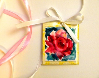 Hand painted bookmark Rose Bookmark Abstract bookmark Floral bookmark Rose greeting card Hand painted rose greeting card Yellow bookmark