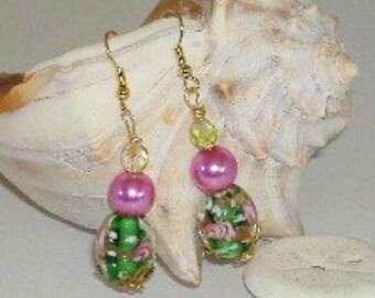 Flower Garden Lampwork Earrings