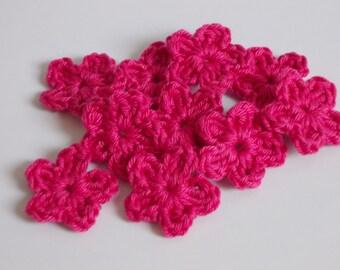 10 crochet mini floral - pink