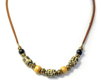 Beaded Handmade Necklace on Suede
