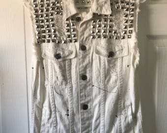 White Denim Custom Studded Vest