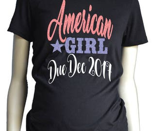 All American Girl, July Maternity Shirt, Fourth Of July Pregnancy Announcment, July 4th Shirts