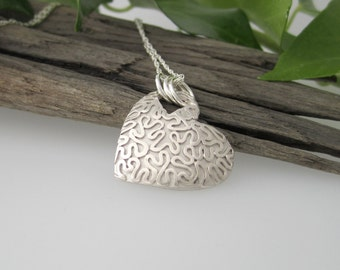 Heart Pendant with Wiggle Design in Fine Silver, Solid Silver Handmade Necklace, Heart shaped Pendant, Large Heart Necklace