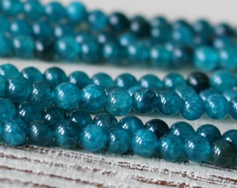 4mm Round Apatite Beads - Round Gemstone Beads - Jewelry Making Supplies - Teal - 16 Inches