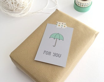 Gift Cards 10 pieces / For You (5,5 x 8,5 cm) / Umbrella