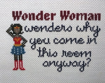 Forgetful Wonder Woman Cross-Stitch Pattern