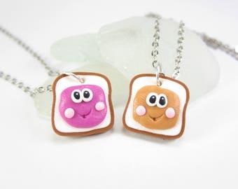 PBJ best friend necklace, best friend gift, friendship necklace, BFF necklace, kawaii jewelry, Peanut Butter Jelly, cute polymer clay