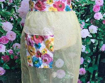 60s Yellow Sheer Chiffon Apron Flower Print Pocket