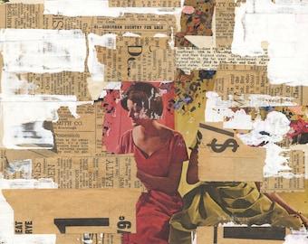 Suburban - original mixed media collage