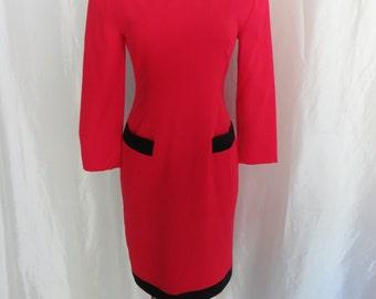 Vintage 80s womens designer dress, red black long sleeve winter dress, Alvin Bell dress, African American women designer