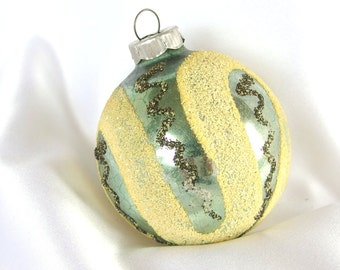 Vintage West Germany Shiny Brite Christmas Ornament - Green with Yellow Mica Loops Christmas Ornament