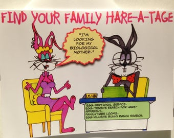 Funny Easter Card - Hand Drawn Cartoon Funny Easter Card - Original - Adult Easter Card