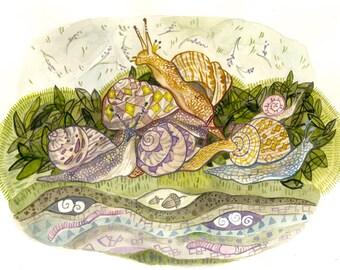 Snail Parade original watercolor
