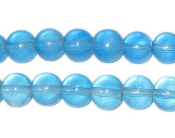 8mm Turquoise Round Pressed Glass Bead