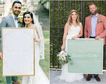 gift for groom - gift for bride - custom wedding vow art - cotton anniversary - wedding vows canvas - bohemian wedding - wedding guest book