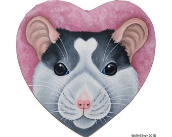 Husky or Roan Heart Rat - Fancy Rat Painted on Heart Shaped Stretched Canvas - Acrylic Painting - Rat, Rodents, Home Decor