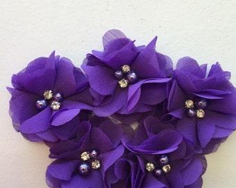 "2.5"" Purple Chiffon Flower with Pearl and Rhinestone Center set of 5"