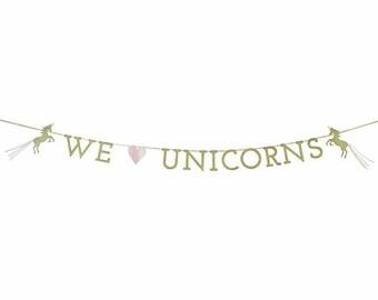 We Heart Unicorns beautiful Gold Glitter Party Garland