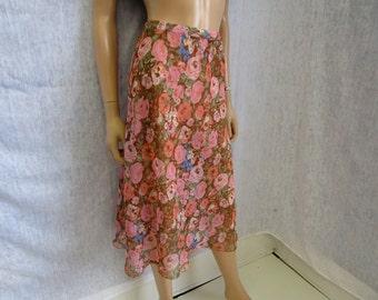 90s Lg Bias See-Thru Sheer Chiffon Skirt Pink Brown Floral