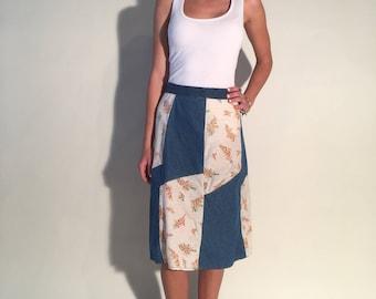Vintage Patchwork Denim Skirt