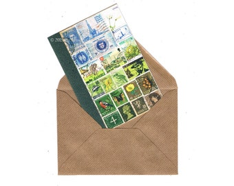 Summer Notecard   Cheerful Note Card, Blue Green Postage Stamp Mail Art   Bon Voyage Good Luck Card   blank, any occasion A6 greeting card