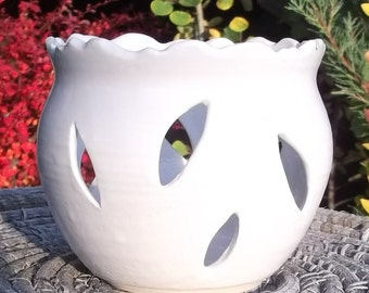 Luminary in White with Rocky Mountain Rim - Handmade Pottery