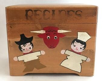Vintage Recipe Box Wooden Handpainted Japan