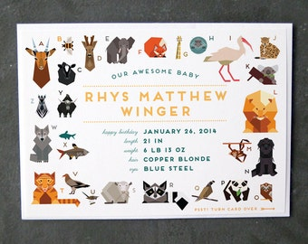 ABC Animals Baby Announcement (with full size photo on back!)