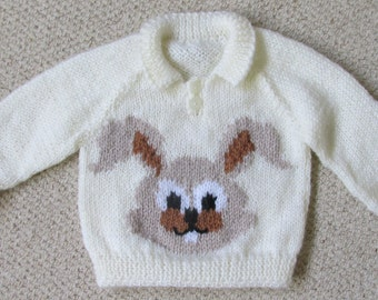 Hand knitted Bunny child's sweater
