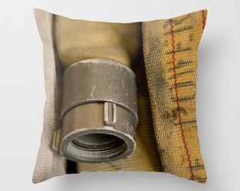 Fire Hose, Throw Pillow, Firefighter Decor, Firefighter, Firefighter Throw Pillow