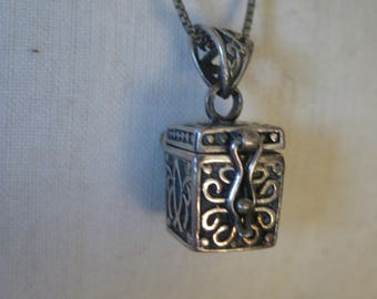 Prayer Box Christian Sterling Necklace Vintage Pendant 925 Silver