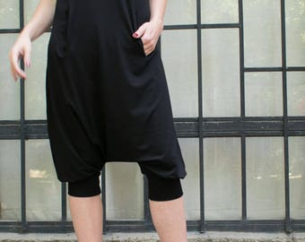 Jumpsuit garment. Black Harem Jumpsuit. Women casual jumpsuit. Loose black jumpsuit. Oversize black jumpsuit. Wide leg jumpsuit.
