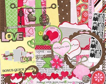 """Valentine's Digital Scrapbook Kit - """"Love"""" digiscrap papers and elements with heart, charms, frames and quick page for scrapbook layouts"""